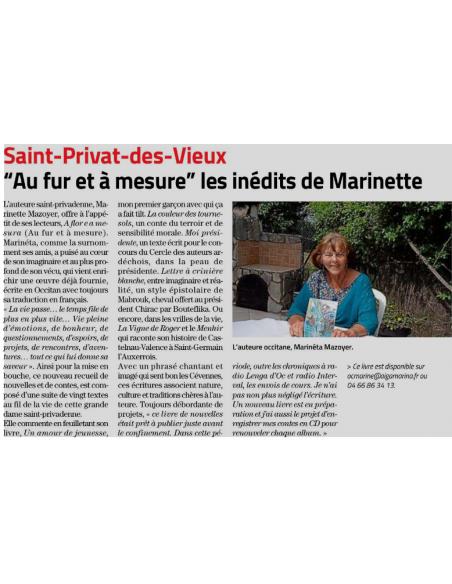 © Midi-Libre du 19/06/2020 - Suzanne Prad